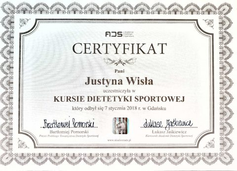 Justyna Płoskonka dietetyk kurs dietetyki sportowej