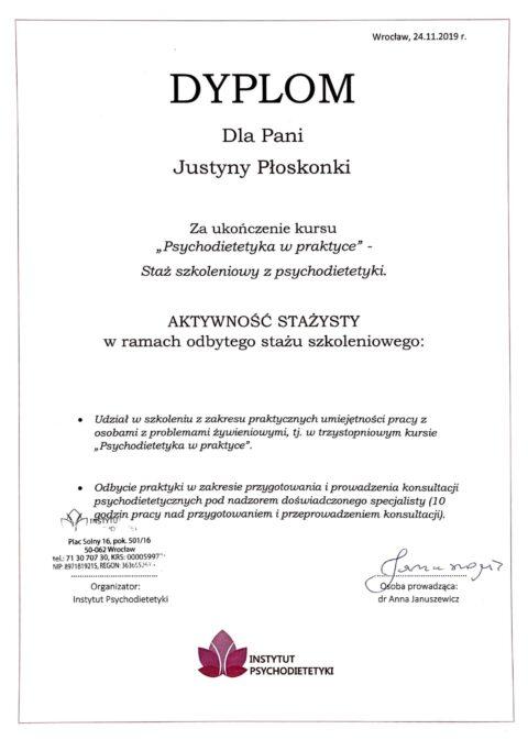 Justyna Płoskonka - staż psychodietetyczny instytut psychodietetyki