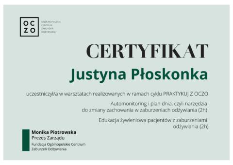 Justyna Płoskonka - szkolenie dietetyk - OCZO zaburzenia odżywiania