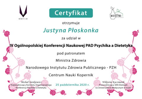 Justyna Płoskonka - szkolenie dietetyk - PAD psychika a dietetyka 2