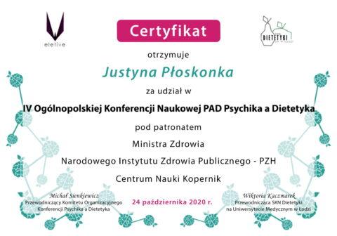 Justyna Płoskonka - szkolenie dietetyk - PAD psychika a dietetyka