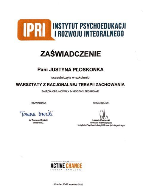 Justyna Płoskonka - szkolenie dietetyk - RTZ