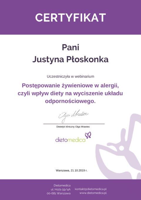 Justyna Płoskonka - szkolenie dietetyk - alergia