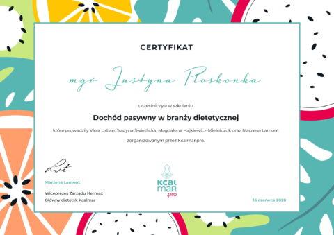Justyna Płoskonka - szkolenie dietetyk - biznes