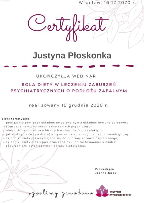 Justyna Płoskonka - szkolenie dietetyk - choroby psychiatryczne
