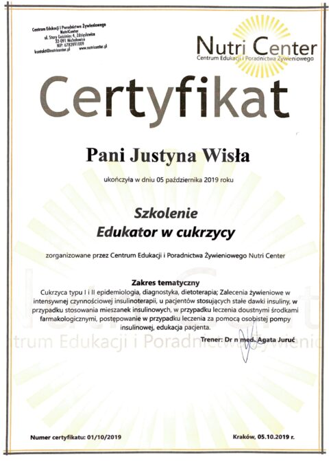 Justyna Płoskonka - szkolenie dietetyk - edukator w cukrzycy