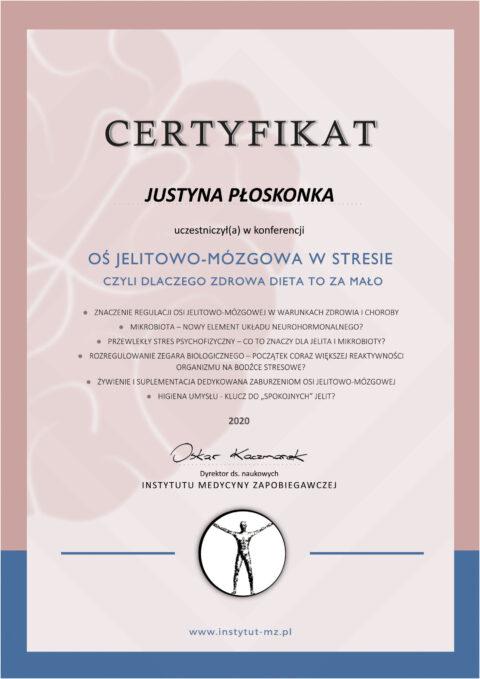 Justyna Płoskonka - szkolenie dietetyk - jelita-mózg