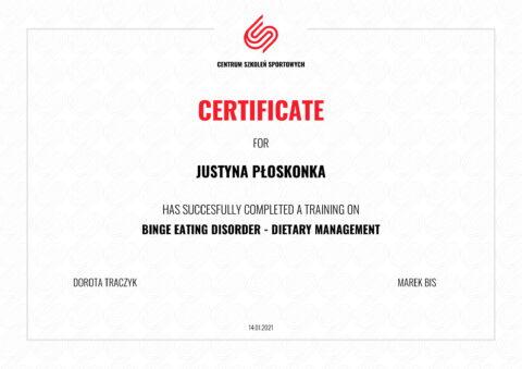 Justyna Płoskonka - szkolenie dietetyk - kompulsy