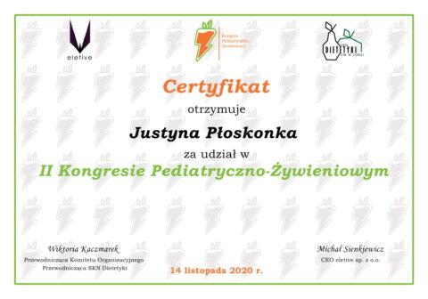 Justyna Płoskonka - szkolenie dietetyk - kongres pediatryczny