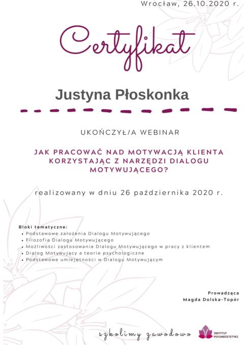 Justyna Płoskonka - szkolenie dietetyk - motywacja