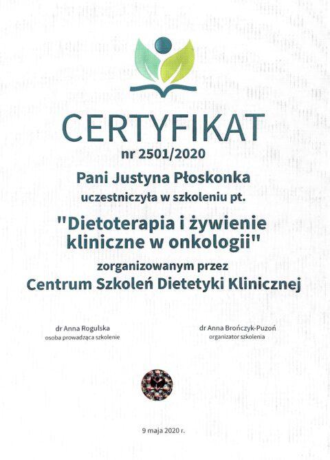 Justyna Płoskonka - szkolenie dietetyk - onkologia