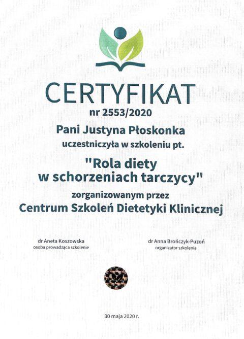 Justyna Płoskonka - szkolenie dietetyk - tarczyca chora