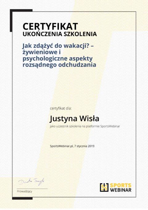 Justyna Płoskonka - szkolenie dietetyk - wakacje