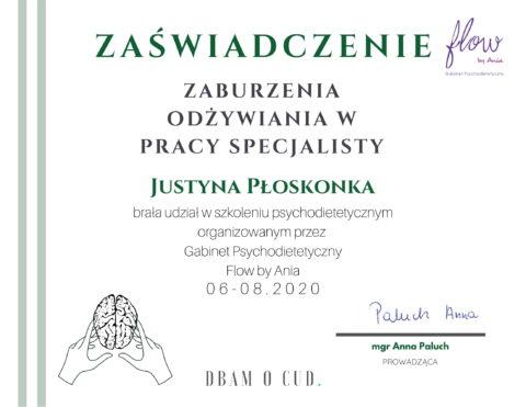 Justyna Płoskonka - szkolenie dietetyk - zaburzenia odżywiania