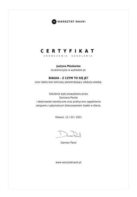 certyfikat parol białka