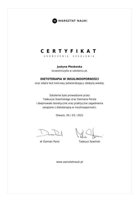 certyfikat parol insulinooporność