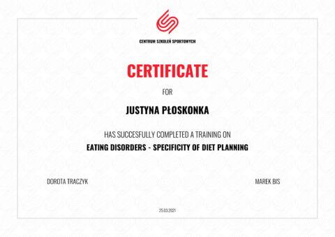 certyfikat zaburzenia odżywiania