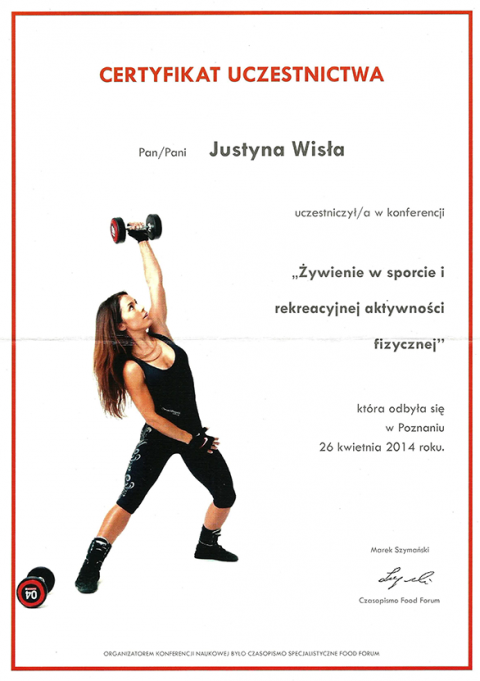 Justyna Płoskonka dietetyk aktywność fizyczna