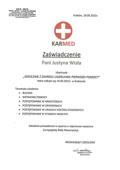 Justyna Płoskonka dietetyk pierwsza pomoc