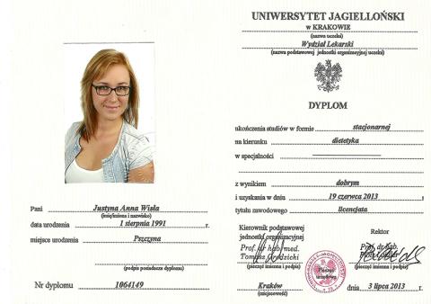 Justyna Płoskonka dietetyk dyplom cmuj