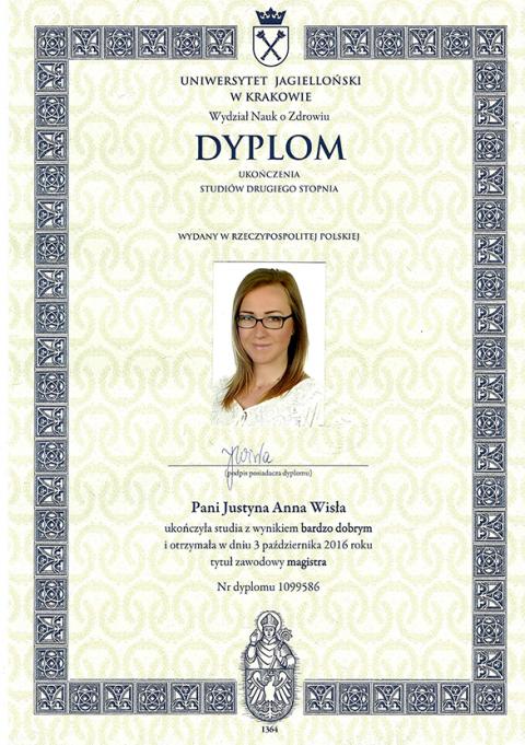 Justyna Płoskonka dietetyk dyplom cmuj zdrowie publiczne